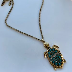 Turtle Necklace with Turquoise Green Stones